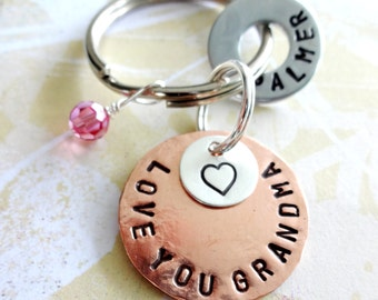LOVE YOU GRANDMA Key Chain Christmas Personalized Hand Stamped Key Chain - Grandparent Birthday with heart & Birthstone Crystal beads