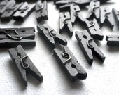 """Black Mini Clothespins - 25 - 1"""" or 2.5 cm - Wooden - Great for Wedding Favors Decorations Scrapbooking and Paper Crafts"""