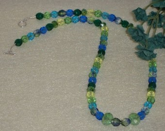 Czech Glass Beaded Necklace Of Blues and Greens    FREE SHIPPING