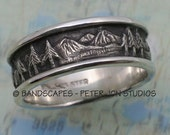 MOUNTAIN LANDSCAPE Wedding Band, 8mm width, in Sterling Silver