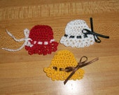 Handmade Crochet Hat Appliques, 100% Cotton Thread, Scrapbooking, Embellishments