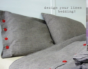 Linen pillowcase set -Standard- linen bedding, bespoke linens, luxury Belgian linen, Eco linen, custom made linens,
