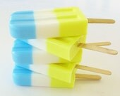 SOAP POPSICLE - Blue & Yellow, natural, handmade, glycerin, scented, kids, fun, custom party favors