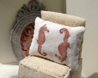 Pillow handpainted seahorse  - Dollhouse Size