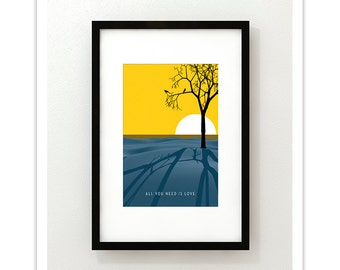 John Lennon - All You Need Is Love - Giclee Print - Modernist Minimalist Illustration
