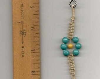 Clearance Key Chain, Plastic Turquoise Beads, Handmade Natural Hemp, Key Ring,