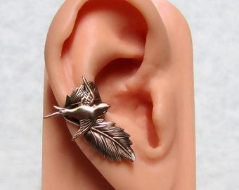 Sparrow Forest Leaf Ear Cuff ' right ear '
