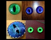 CUSTOM Just For You - Evil Eye - Dragon Eye - Loose Eyes - Single or Set - Cat - GLASS - Hand Painted - Glow In The Dark - Color Shifting