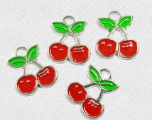 5 Cherry Enamel Charms Perfect for Summer Designs -  E36