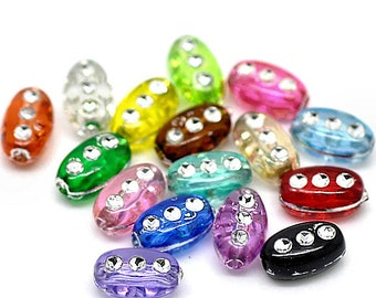 50 Spacer Beads Assorted Ovals Bright and Colorful - BD130