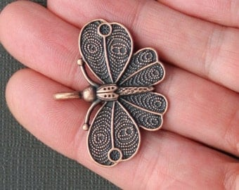 6 Butterfly Charms Antique Copper Tone Larger Size - BC482