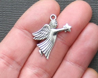 6 Angel Charms Antique Silver Tone with Star Offering - SC1565