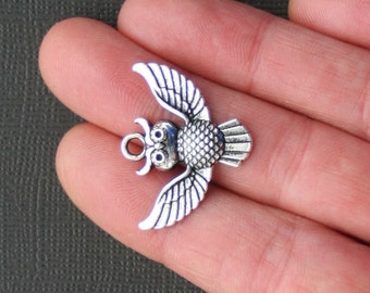 4 Owl Charms Antique  Silver Tone Beautiful Spread Wings - SC451
