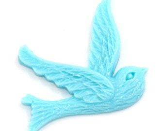 6 Bird Cabochon Blue Resin Vintage Style Swallow in Flight K119