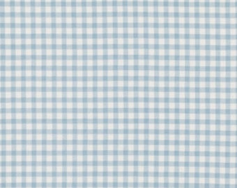 Tanya Whelan Fabric, Petal, Check in Blue, One Yard, Checked, Fabric by the Yard