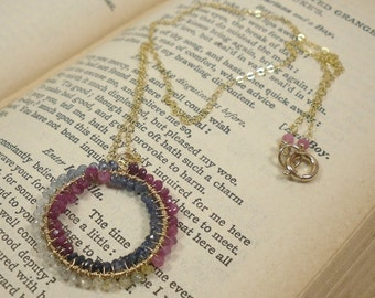 Ruby and Sapphire w 14kt GoldFill Infinity Necklace, Handmade Wirewrap Gemstone Necklace, Precious Gems Necklace, Ruby Sapphire Necklace