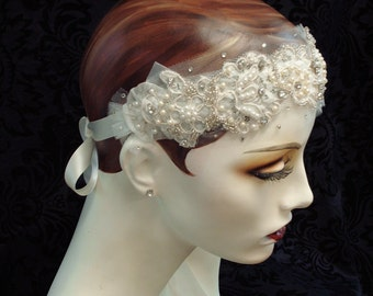 1920's Butterfly Bridal Headband, Beaded Flapper Headpiece, Bridal Headpiece, Bridal Headband, Bridal Accessories,