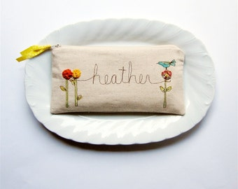 Custom Made Personalized Gift for Her, Clutch Purse with Name, Personalized Clutch, Gift under 50 MADE TO ORDER by MamaBleuDesigns