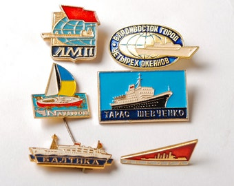 Set of 6 pins, Russian ships and navy ships, Badgens from USSR, Soviet Union