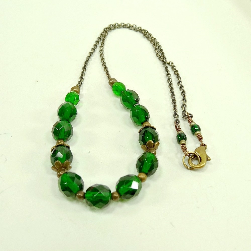 Emerald Green Necklace Beaded Jewelry Brass By