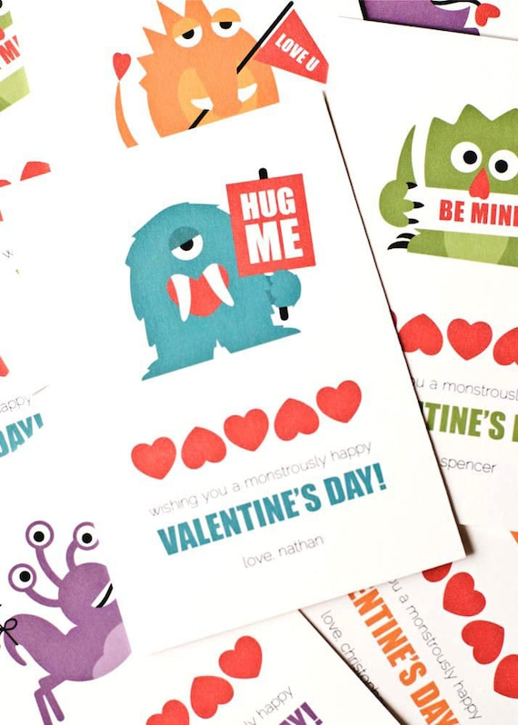 Personalized Children's Valentine Cards, Classroom Valentines // Set of 12 // MONSTROUSLY CUTE