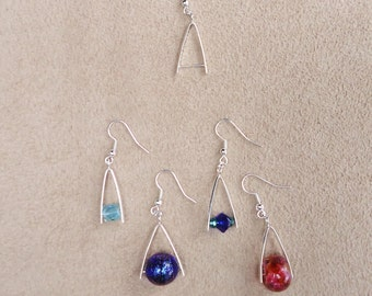SALE. Simple and elegant add a bead Earring Blanks (one pair) fits European Beads