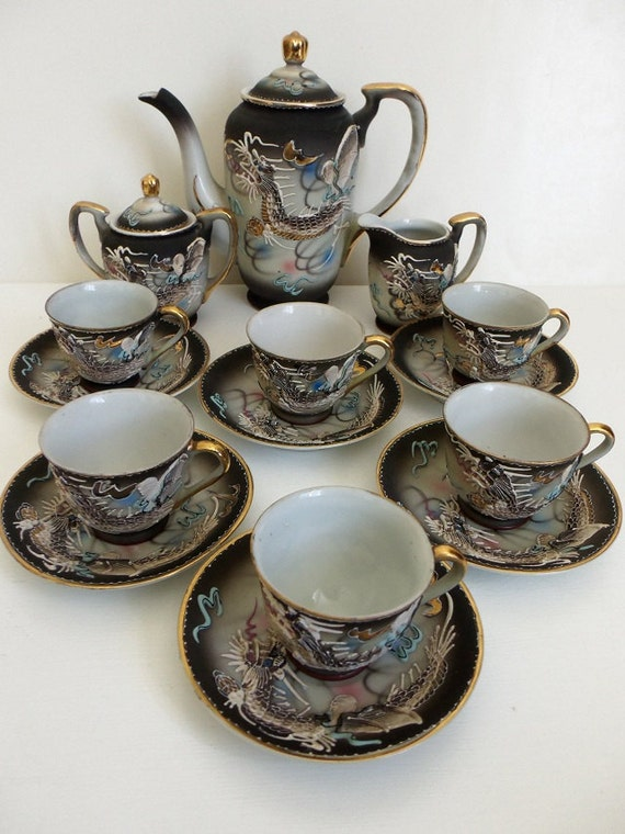 Japanese Dragonware Moriage Coffee Tea Set Demitasse For 6