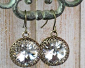 Earrings Swarovski Crystal and Antique Brass with French Fish Hook Ear Wires for Weddings, Bridal Earrings and Bridesmaid Gifts