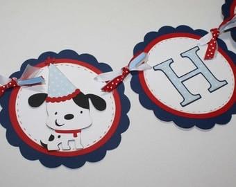 Dog Birthday banner - Happy Birthday banner, dalmation, custom colors