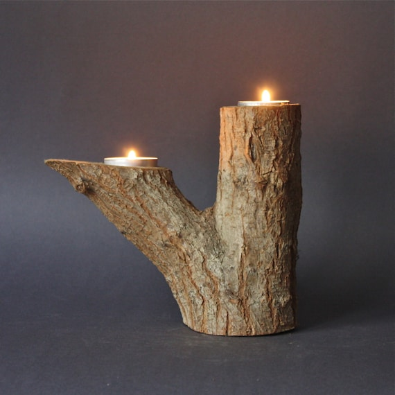 Vintage tree branch natural wood double candle holder Wood candle holders