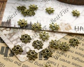 50 pcs of Antique Brass metal lovely flower bead cups 8mm,beadcap findings,beads
