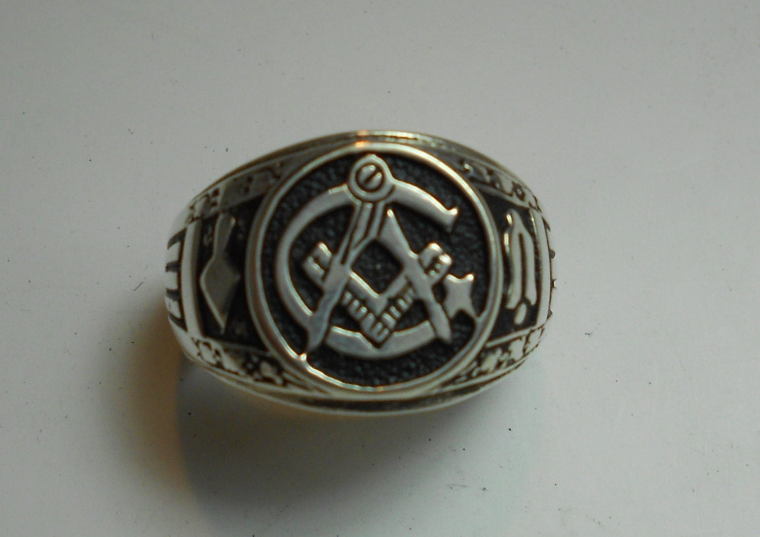 solid sterling silver s masonic ring by arcanumdesigns