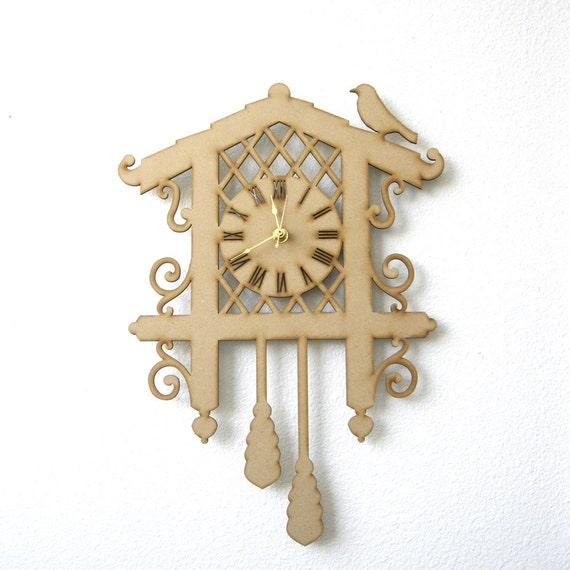 Diy cuckoo clock kit wood clock laser cut clock by fabparlor - Cuckoo clock plans ...