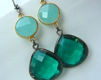 Cool Blue Green Drop Earrings. Oxidized Silver and Gold Filled Dangly Bezel. Modern Beadwork Chandelier.