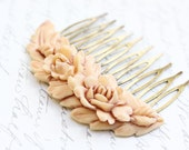 Rose Hair Comb Ivory Cream Rose Peach Prom Bridal Wedding Spring Floral Vintage Style Shabby Chic Hair Accessories Antique Brass Filigree