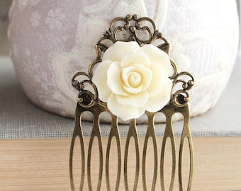 Ivory Cream Rose Hair Comb Bridal Hair Accessories Vintage Style Bridesmaid Gift Shabby Romantic Wedding Antique Brass Filigree Country Chic
