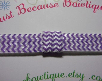 Elastic Headband in Purple Chevron  - Interchangeable Foldover Elastic - For Girls