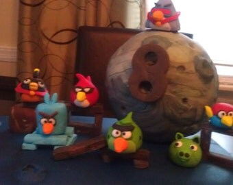 Fondant Angry Birds space theme cake toppers (reserved for velvetflip)