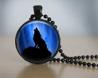 Glass Tile Necklace Wolf Necklace Glass Tile Jewelry Animal Jewelry Wolf Jewelry Black Necklace Black Jewelry Blue Jewelry