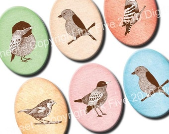 30x40 mm ovals Woodland Birds. Forest animals Images for cabochons, cameos, pendants. Vintage digital download. 30 x 40 mm collage sheet