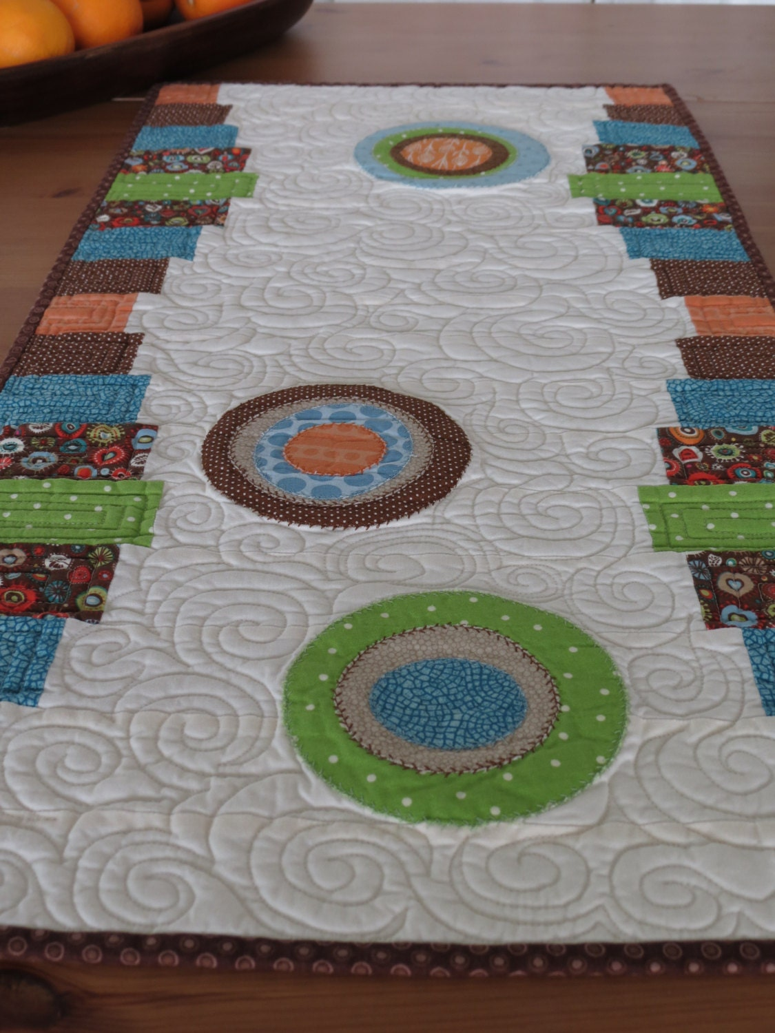 Bold Modern Quilted Table Runner With Appliqued Circles In