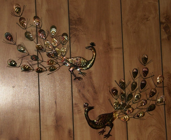 Reserved 2 Copper Peacock Wall Hanging Pair Birds Metal Tin