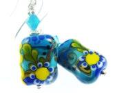Glass Bead Jewelry, Blue Lampwork Earrings, Yellow Turquoise Beadwork Earrings, Colorful Abstract Earrings, Green Lampwork Jewelry