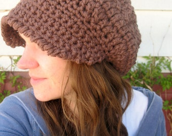 Slouchy Brimmed Hat Brown 100% Cotton