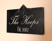 Custom Made Hand Painted Wood Hanging Family Name Sign
