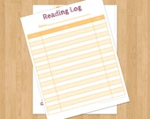 Reading Log for Kids, printable