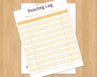 Reading Log for Kids, printable
