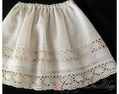 Ivory Skirt for girls - Ivory lace skirt for baby girl - girls skirt - for 2T baby girl skirt - Ivory cotton skirt -ready to ship.