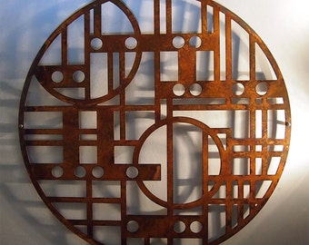 """Deco in the Round No. 3 23"""" Rusted Steel Wall Sculpture"""