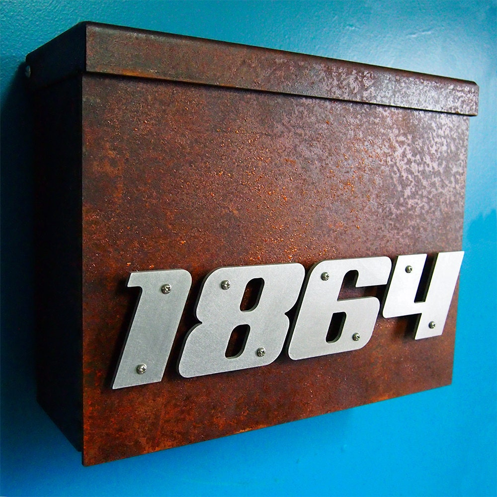 Custom Modern Floating House Number Mailbox No 1310 In Rusted